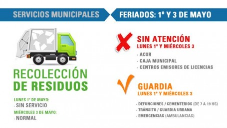 Servicios municipales para el feriado del lunes