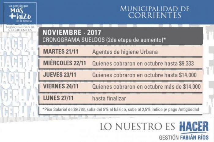 Municipio paga la segunda etapa de subas salariales