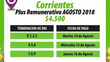 Provincia inicia el pago del plus de $4.500 pesos para estatales